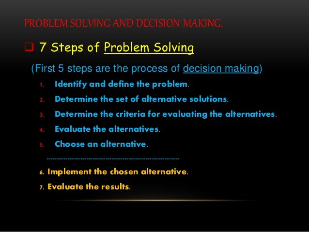 PROBLEM SOLVING AND DECISION MAKING.  7 Steps of Problem Solving (First 5 steps are the process of decision making) 1. Id...