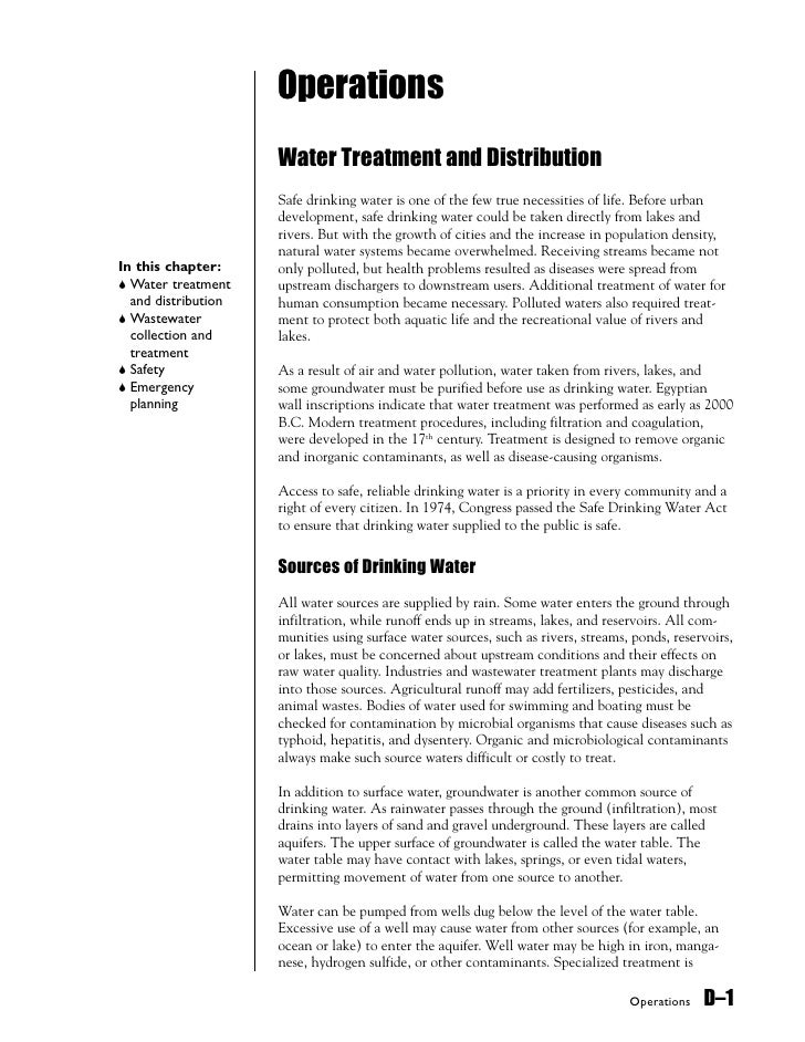 Operations                      Water Treatment and Distribution                      Safe drinking water is one of the fe...