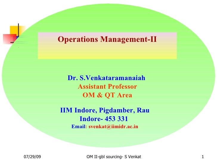 Operations Management-II Dr. S.Venkataramanaiah  Assistant Professor OM & QT Area IIM Indore, Pigdamber, Rau Indore- 453 3...