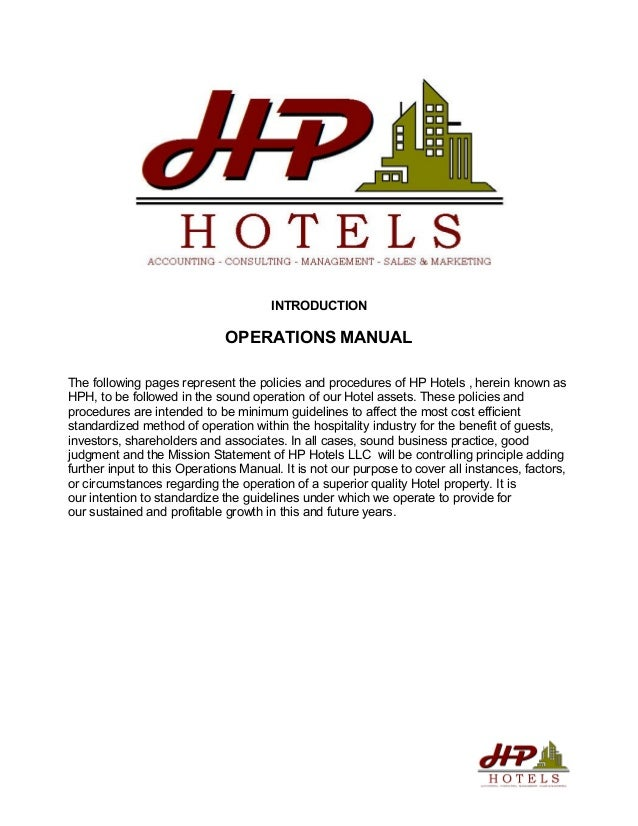 operations manual rh slideshare net hotel front desk policies and procedures manual hotel policy and procedure manual employee