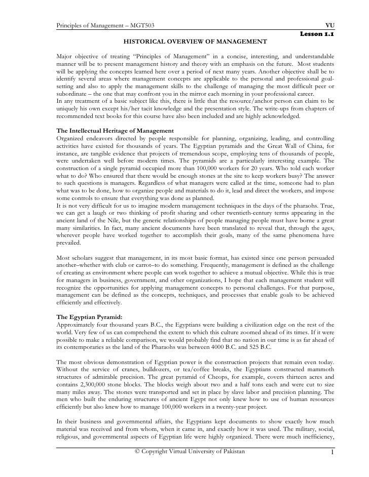 Principles of Management – MGT503                                                                      VU                 ...
