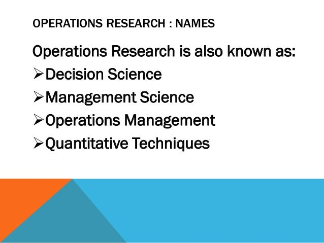scope and limitations of operations research