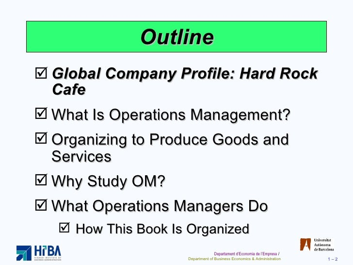 Decisions Of Operations Management Hard Rock Cafe