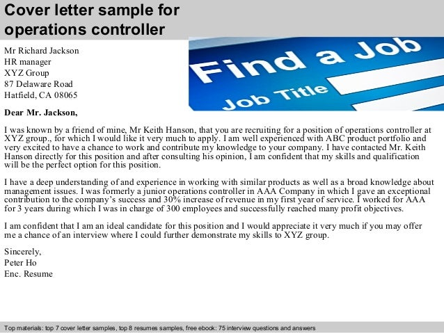 Superb Cover Letter Sample For Operations Controller ...