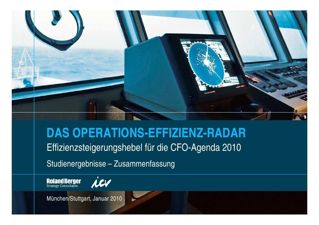 DAS OPERATIONS-EFFIZIENZ-RADAR Effizienzsteigerungshebel für die CFO-Agenda 2010 Studienergebnisse – Zusammenfassung   Mün...
