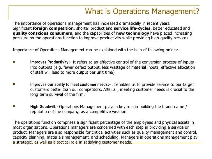 operational management in textile managment Learn about operations management in this topic from the free management library.
