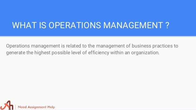 operation management 3 essay Operations management - chapter 12 exam essay 4204 words | 17 pages operations management - chapter 12 - help test questions 1 1 mrp works best if the inventory items have dependent.