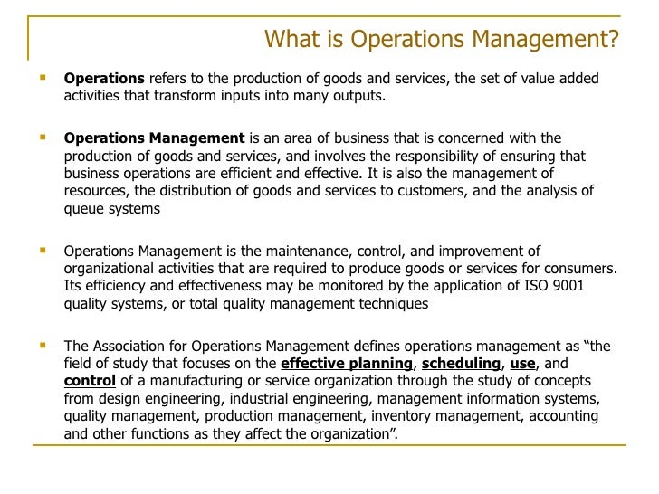 operations management and the importance of