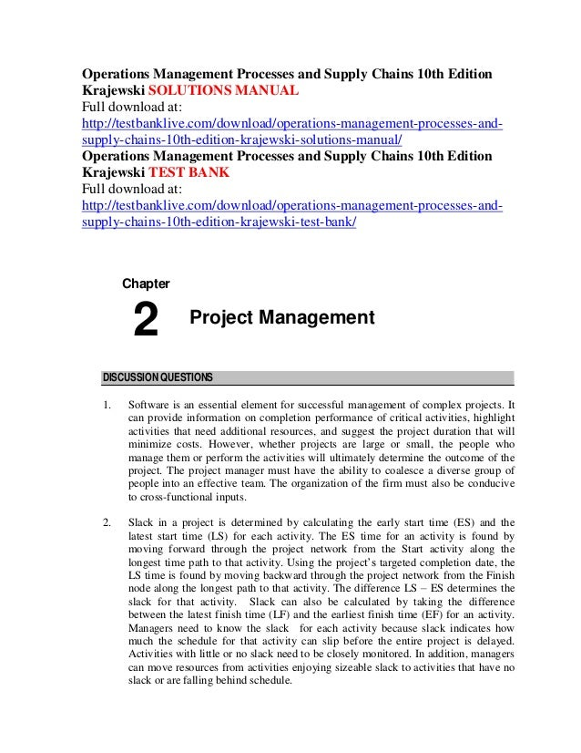 Solution manual for operations management sustainability and.