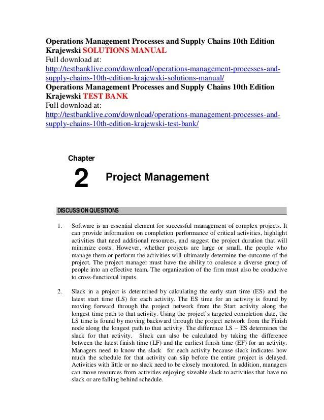Operations management krajewski chapter 1 | supply chain.