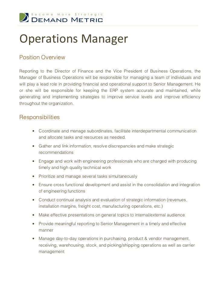 Beau Operations Manager Job Description. Operations ManagerPosition  OverviewReporting To The Director Of Finance And The Vice President Of  Business Operations, ...