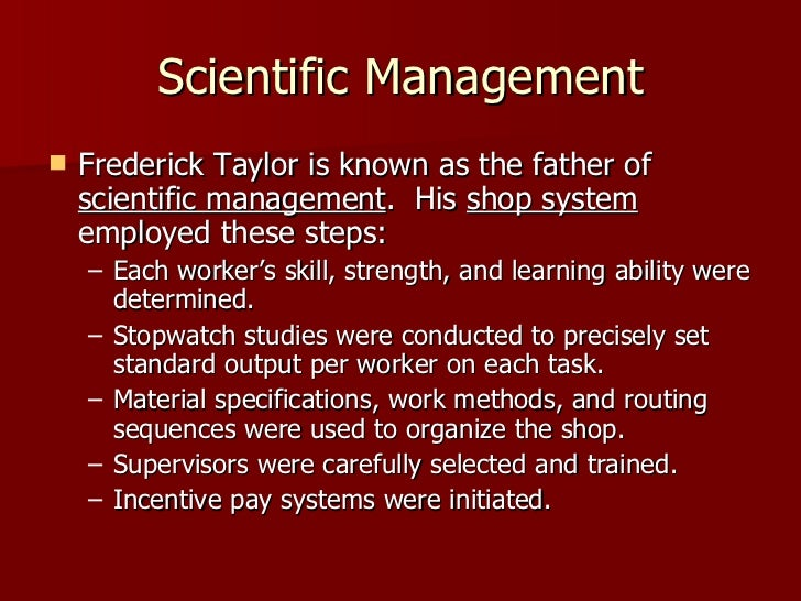 frederick taylor contribution to operation management