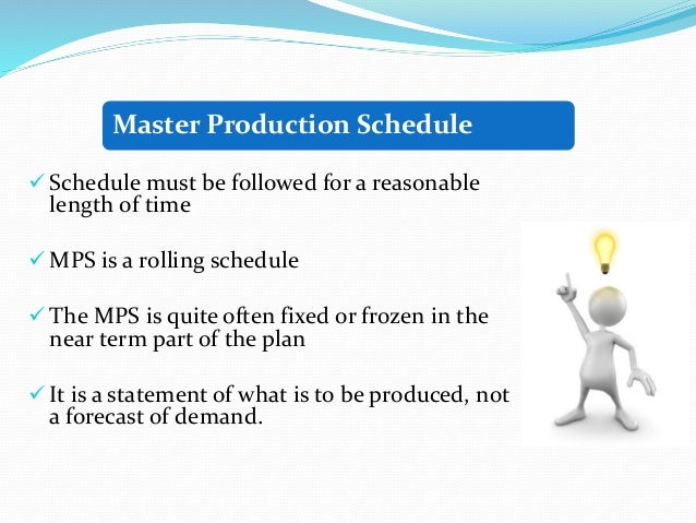 functions of master production schedule pdf