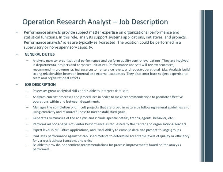 Superb ... 11. Operation Research Analyst U2013 Job Descriptionu2022 ...