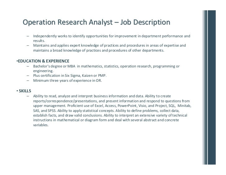Operations research – Research Analyst Job Description