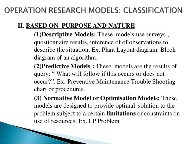 III. BASED ON CERTAINITY (1)Deterministic Models: If all the parameters of decision variables, constants and their functio...