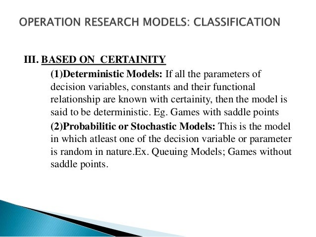IV. BASED ON TIME REFERENCE (1) Static Models: These models present a system at a specfied time, which do not account for ...
