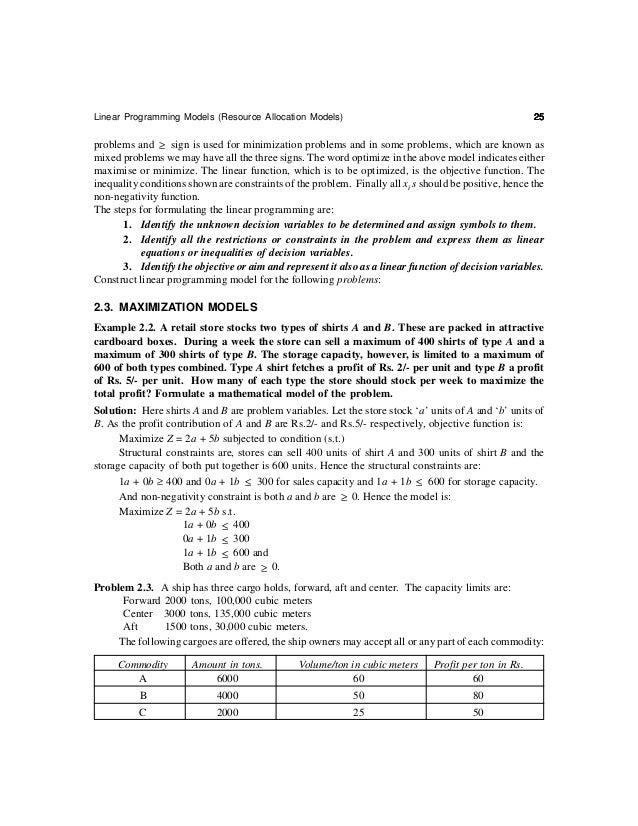 Linear Programming Models (Resource Allocation Models)                                                 27     Minimize Z =...