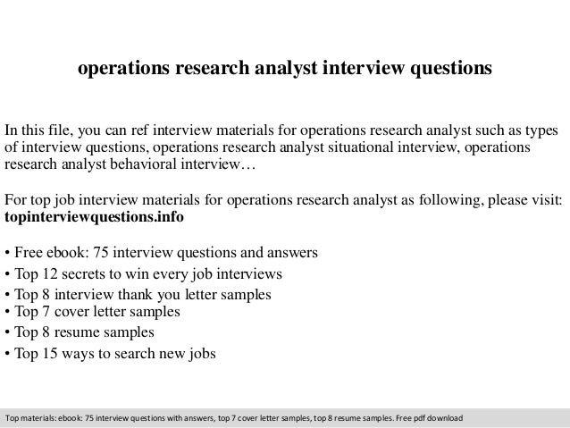 Operations research analyst interview questions