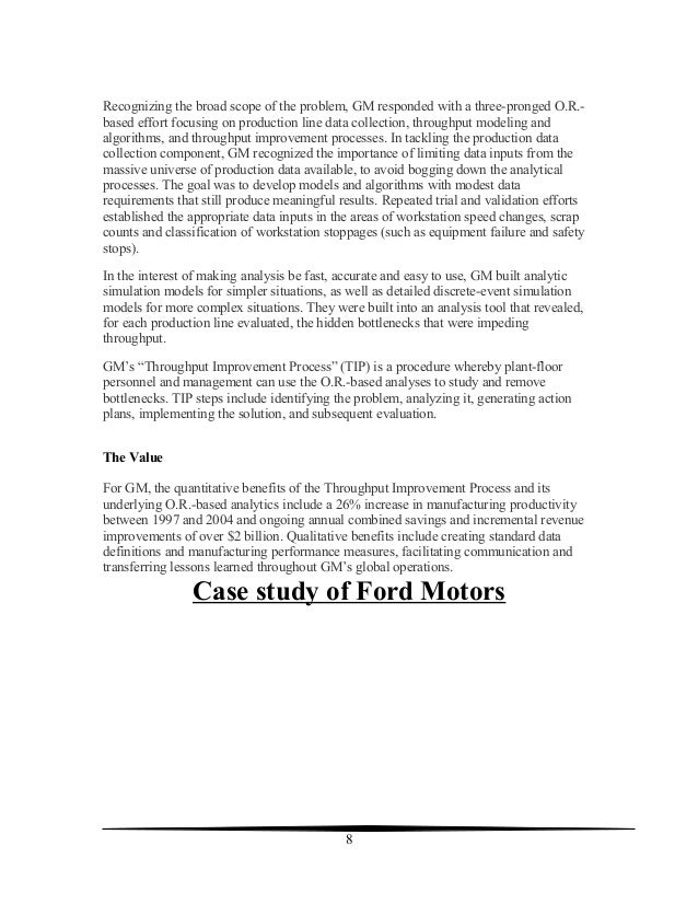 ford and gm case study Free college essay ford: company analysis abstract ford motor company wendy • case study • 2,793 the american companies such as ford and gm have been.