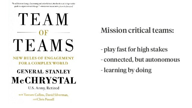 Mission critical teams: - play fast for high stakes - connected, but autonomous - learning by doing
