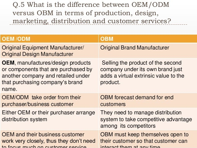what are the differences between oem odm versus obm in terms of production design marketing distribu Oem and odm are terms that we come across in the design and manufacturing industry and people remain unsure of the difference between both terms as they appear to be similar these are in fact categorization for the manufacturing companies and the resellers.