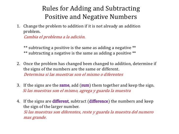 Operations with signed numbers