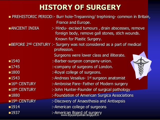 HISTORY OF SURGERY PREHISTORIC PERIOD:- Burr hole-Trepanning/ trephining- common in Britain,France and Europe.ANCIENT IN...