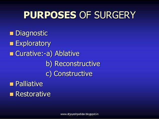PURPOSES OF SURGERY Diagnostic Exploratory Curative:-a) Ablativeb) Reconstructivec) Constructive Palliative Restorati...