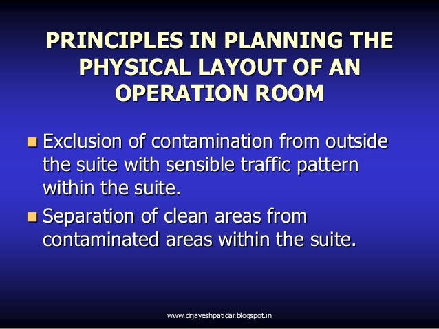 PRINCIPLES IN PLANNING THEPHYSICAL LAYOUT OF ANOPERATION ROOM Exclusion of contamination from outsidethe suite with sensi...