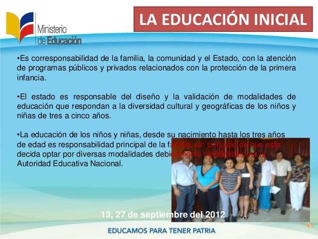 LA EDUCACIÓN INICIAL13, 27 de septiembre del 2012•Es corresponsabilidad de la familia, la comunidad y el Estado, con la at...