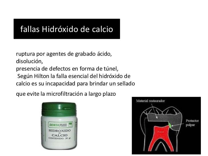 fallas Hidróxido de calcioruptura por agentes de grabado ácido,disolución,presencia de defectos en forma de túnel, Según H...