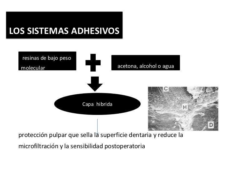 LOS SISTEMAS ADHESIVOS  resinas de bajo peso  molecular                             acetona, alcohol o agua               ...