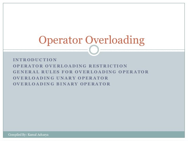 Operator Overloading INTRODUCTION OPERATOR OVERLOADING RESTRICTION GENERAL RULES FOR OVERLOADING OPERATOR OVERLOADING UNAR...