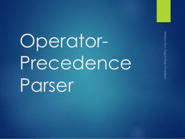 Operator- Precedence Parser