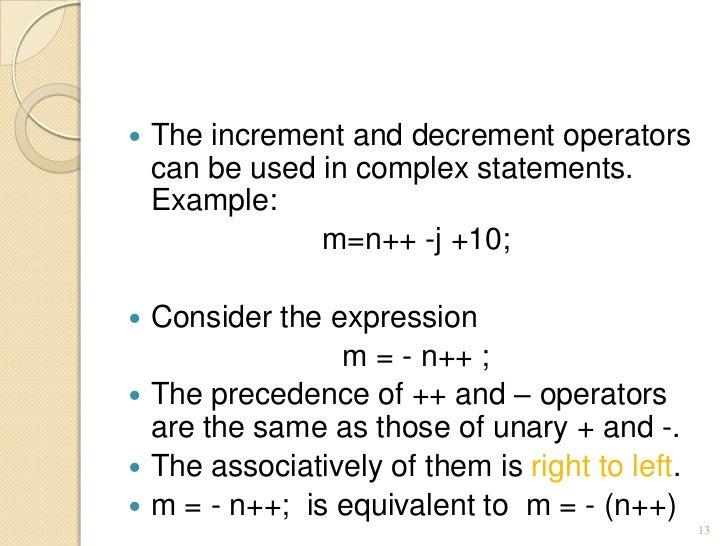 increment and decrement operators in c with examples pdf