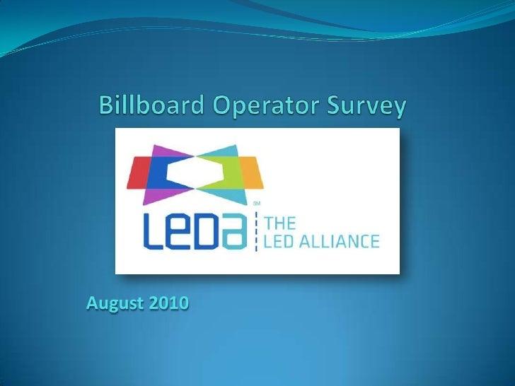 Billboard OperatorSurvey<br />August2010<br />