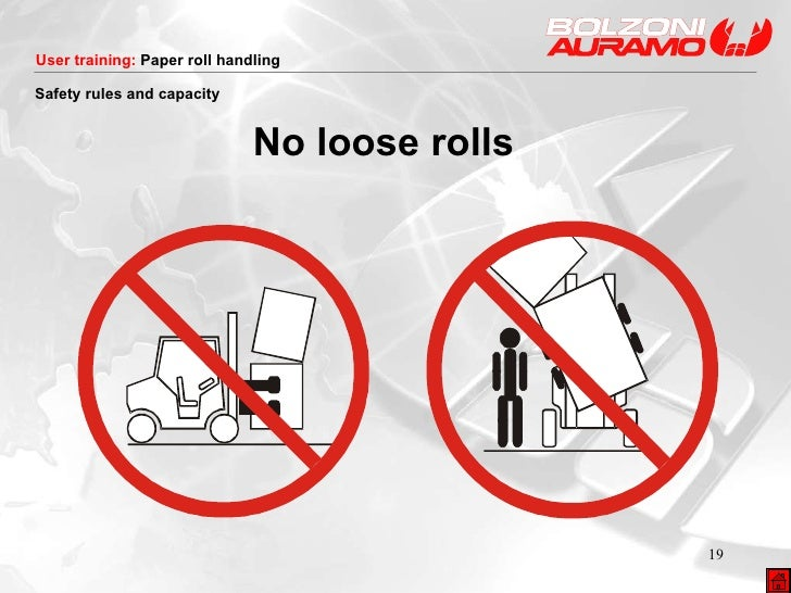 <ul><li>No loose rolls </li></ul>Safety rules and capacity