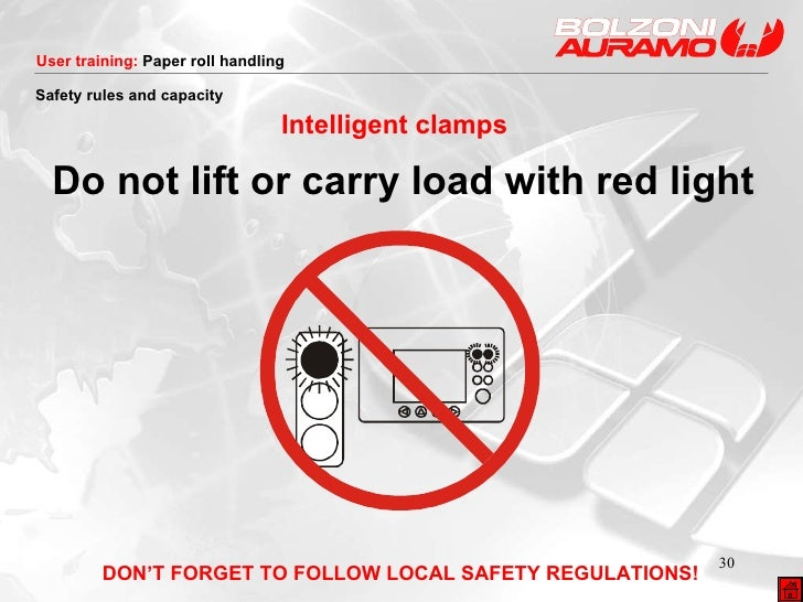 <ul><li>Do not lift or carry load with red light </li></ul>Intelligent clamps DON'T FORGET TO FOLLOW LOCAL SAFETY REGULATI...