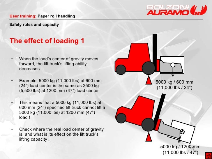 The effect of loading 1 <ul><li>When the load's center of gravity moves forward, the lift truck's lifting ability decrease...