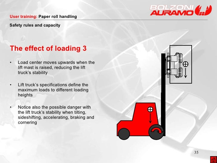 The effect of loading 3 <ul><li>Load center moves upwards when the lift mast is raised, reducing the lift truck's stabilit...