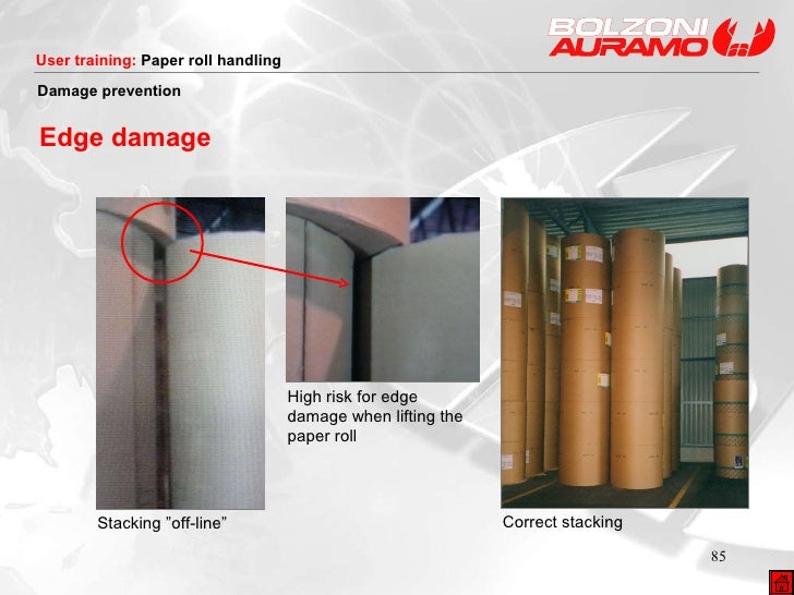"""Stacking """"off-line"""" High risk for edge damage when lifting the paper roll Correct stacking Damage prevention Edge damage"""