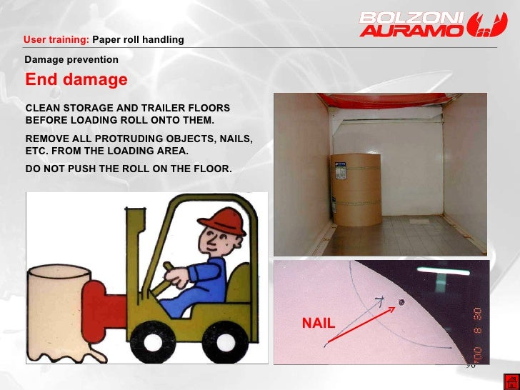 NAIL Damage prevention End damage CLEAN STORAGE AND TRAILER FLOORS BEFORE LOADING ROLL ONTO THEM. REMOVE ALL PROTRUDING OB...