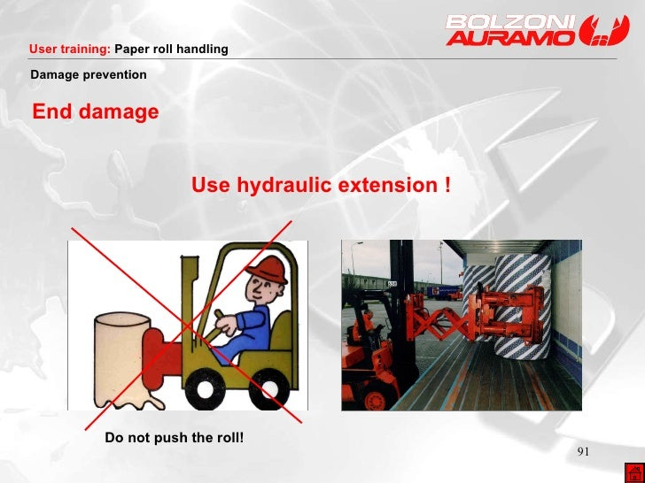 Use hydraulic extension ! Damage prevention End damage Do not push the roll!