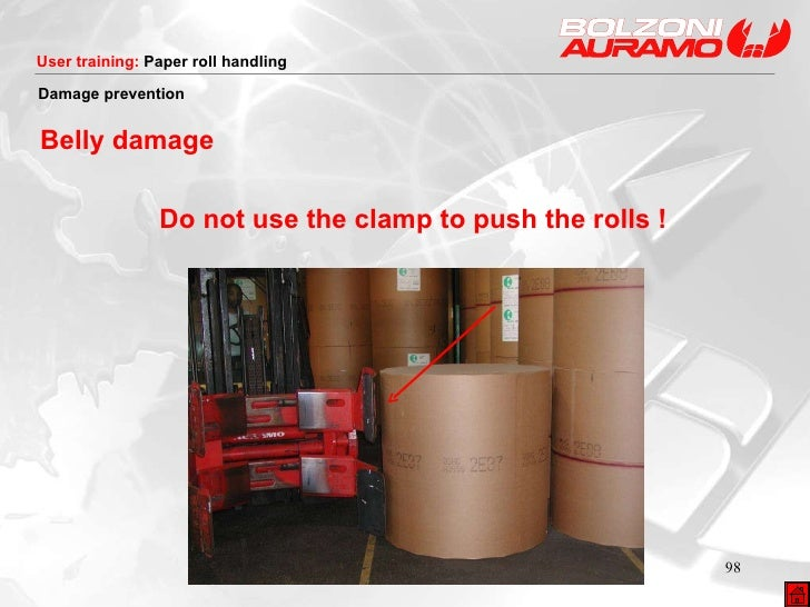 Do not use the clamp to push the rolls ! Damage prevention Belly damage