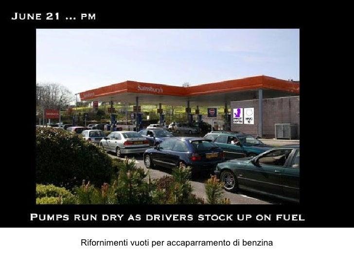 Rifornimenti vuoti per accaparramento di benzina