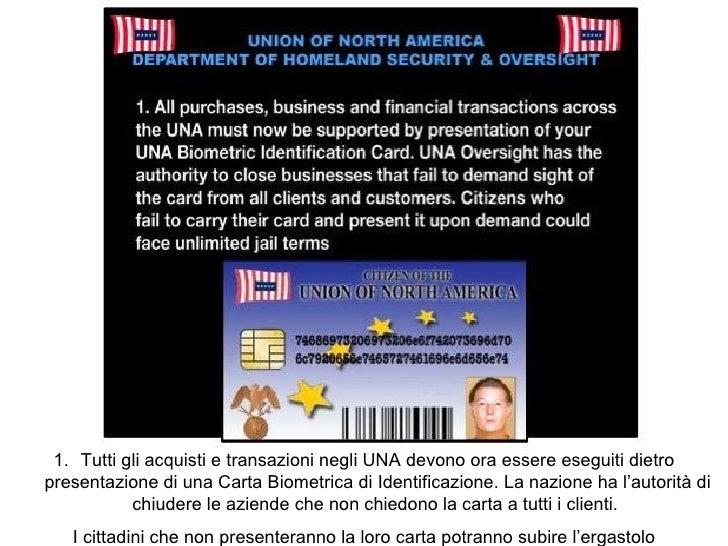 <ul><li>Tutti gli acquisti e transazioni negli UNA devono ora essere eseguiti dietro presentazione di una Carta Biometrica...