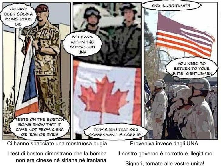 Ci hanno spacciato una mostruosa bugia I test di boston dimostrano che la bomba non era cinese né siriana né iraniana Prov...