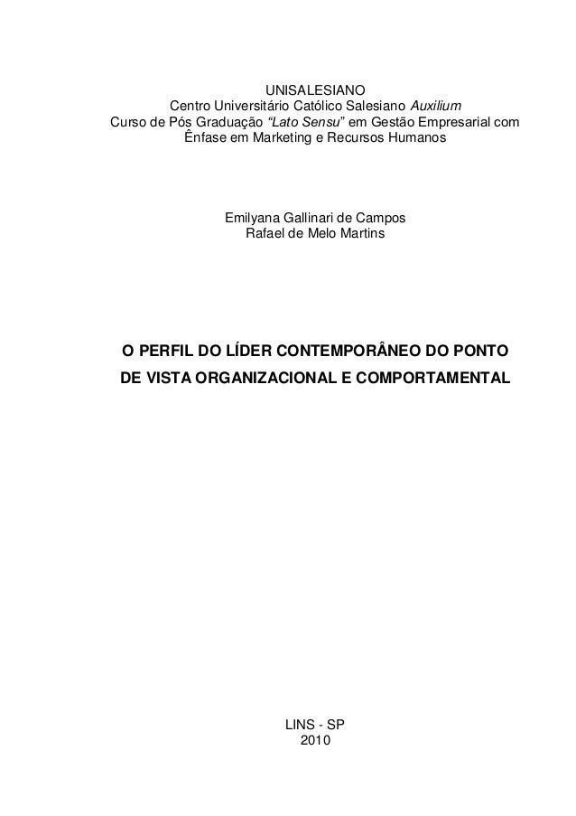 """UNISALESIANO Centro Universitário Católico Salesiano Auxilium Curso de Pós Graduação """"Lato Sensu"""" em Gestão Empresarial co..."""