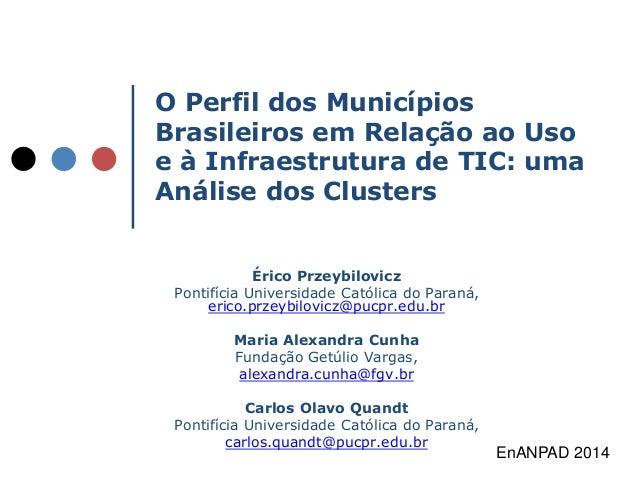O Perfil dos Municípios  Brasileiros em Relação ao Uso  e à Infraestrutura de TIC: uma  Análise dos Clusters  Érico Przeyb...